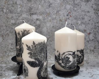 SECONDS SALE Illustrated Lino Cut Decorative Candle, Alternative Homeware Candle