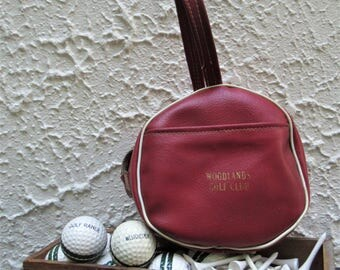 Vintage Golf Ball Bag, Golf Balls, Golf Tees, New York Golf, Woodlands Golf Club, Golfer Gift