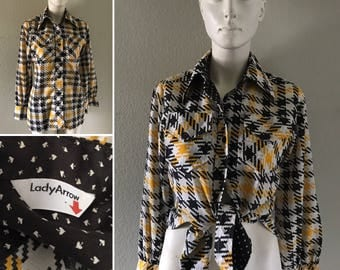 vintage 60s 70s womens Lady Arrow houndstooth print button up checkered shirt hippie boho punk grunge top