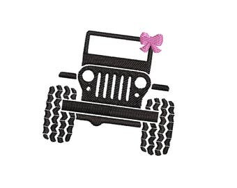 Mini SUV with Bow Machine Embroidery Design - Instant Download