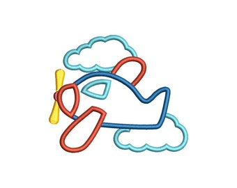 ON SALE Airplane Clouds Applique Embroidery Design Set - Instant Download