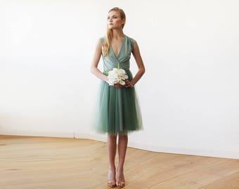 Green Sage midi sleeveless tulle gown , Sage bridesmaids midi tulle dress 1081