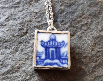 Broken China Jewellery Pendant created from Vintage Blue and White Plate