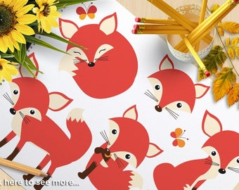 Red Fox Clipart, So Foxy, forest animals, butterfly, woodland animals, paw print, cute fox, commercial use, vector clipart, SVG cut file