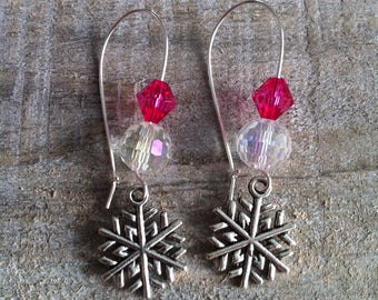 Snowflakes earrings large silvery fuchsia 5 clasps