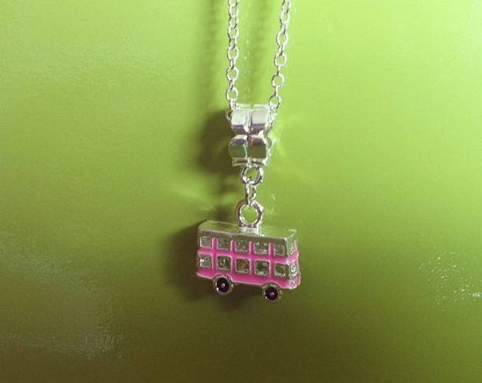 English bus pendant Pink necklace silver chain