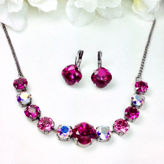 "Swarovski Crystal Necklace 12MM/8.5mm - Fuchsia, Rose, and Aurora Borealis  - ""Rose Garden"" -  Sparkle & Shimmer - FREE SHIPPING"