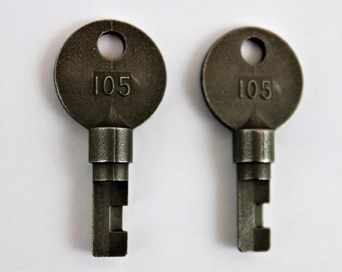 Two Number 105 High Security Sargent & Greenleaf Railroad Padlock keys