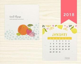 2018 Square Desk Calendar - Fresh & Fruity