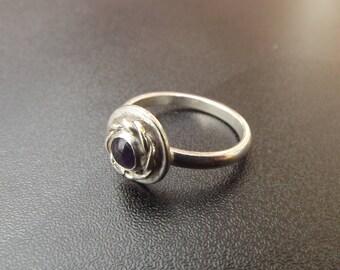 sterling silver twist setting 5mm gemstone ring