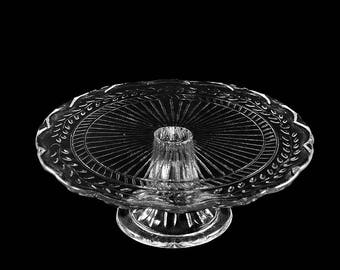 Vintage Pressed Glass Vine Pedestal Cake Plate Stand // Glass Pedestal Cake Plate // Glass Pedestal Dessert Plate
