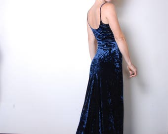 90s velvet royal blue body con fitted spaghetti strap evening dress with train Victoria Secret gown