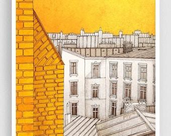 30% OFF SALE: Paris illustration - Sunny day in Paris - Art illustration Prints Posters Paris decor Yellow Wall Art Paris cityscape Home dec