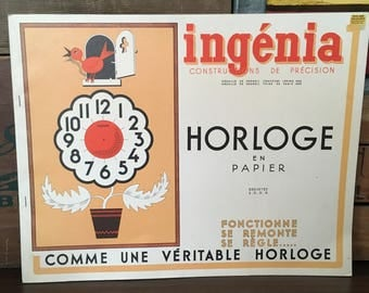 Vintage Ingenia Horologe en Papier Book Make Your Own Working Paper Clock Cut-out Model Craft Project
