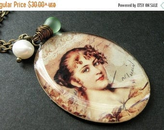 SUMMER SALE Beautiful Lady Necklace. Renaissance Woman Pendant with Pale Green Teardrop and Pearl. Handmade Jewelry.
