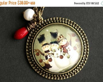 VALENTINE SALE Snowman Necklace. Christmas Snowman Pendant. Christmas Necklace with Red Coral Teardrop and Fresh Water Pearl. Bronze Necklac