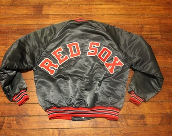 Boston Red Sox Satin Jacket chalk line vintage MLB baseball backscript winter coat