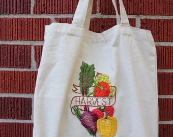 Embroidered Market Bag, Everyday Womens Bag, Reuseable Grocery Bag, Canvas Tote Bag for Grocery Shopping, Eco Friendly, Earth Friendly
