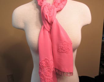 Bright Pink Soutache Beaded Scarf