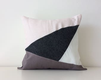Triangle Geometric Patchwork Pillow Cover, Modern Decor, Angles, Light Pink, Cream, Dark Grey, Minimalist, Texture, Linen, Contemporary