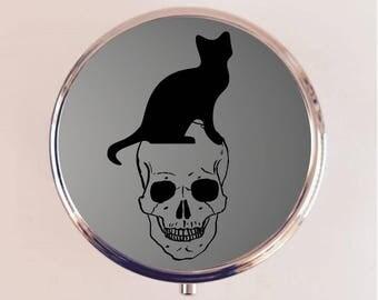 Black Cat Skull Pill Box Case Pillbox Holder Trinket Stash Box Witch Witchcraft Goth Halloween Magick