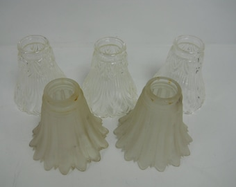 LOT OF 5 Vintage Minka Glass Lamp Shade Replacement Light Glass