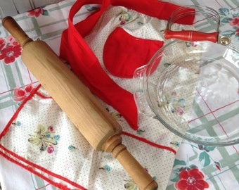 Pie Baking Tools, Wooden Rolling Pin, Nutbrown Pastry Blender, Red Apron, Fire King Anniversary Glass Pie Plate, Farmhouse Country Kitchen