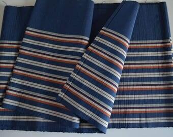 Striped woven obi, dark blue kimono sash