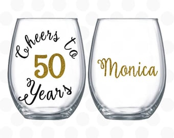 Cheers to 50 years, 50th birthday gift for women, wine glass name included, 50th birthday wine glass, 50th birthday party favors