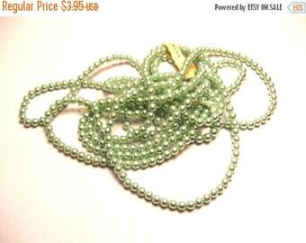 Sale 360 Very Light Green Pearls - 3mm Glass Pearls - Vintage 3 mm Pearl Bead Lot - Japan Bead Lot