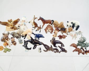 Lot of 37 Ceramic Bone China Miniatures Hagen Renaker Bug House Josef Original Animals Angel Cats Dogs Seal Kangaroo Orca Wale Bear Dolphin