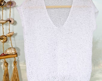 Knitted Shirt, Glimmer Jersey, White Sleeveless Blouse with Sequins, Summer Gifts for Women, Unique Summer Top, Sleeveless Sweater