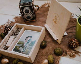 SET of 6 - 5x7 Wood print box with photo stand. Enough space for prints and usb drive - lid converts into a photo stand - Crystal USB option