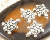 Whimsical Perfect Tortoise Spacer Beads, 3D Antique Silver (6)  -