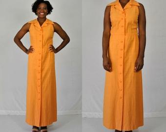 1970s Orange Maxi Dress