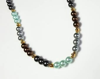 Mint Green Chocolate Brown Light Dark Pearl Necklace Gold Magnetic Clasp Necklace Pretty Beaded Jewelry Gifts for Her Necklaces for Women