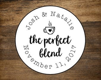 """Favor labels, set of 20, 2"""" round, The Perfect Blend, personalized sticker, White or Kraft brown, bridal shower, coffee tea favor sticker"""