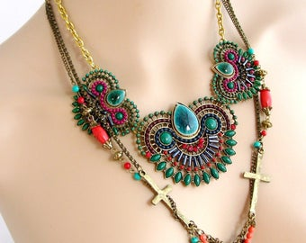 Bib necklace and colorful necklace - ceramic beads, chain and tassel