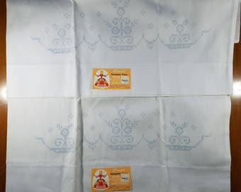 Pair of Pillow Cases Slips to be Cross Stitched Floral Design