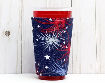 Coffee Cozy, Iced Coffee Cozy, Cup Sleeve, Insulated Cup Sleeve, Eco Friendly, Patriotic Cup Sleeve, Fireworks Insulated Cup Sleeve
