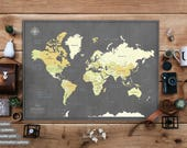 World Travel Map Poster with Pins / Personalized gift / Pin map / World map poster / Push Pin Travel map / Large World Map, World travel map