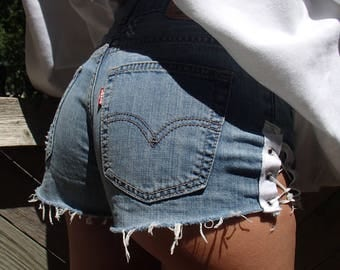 LACE UP JEANS Shorts/ High Waisted Levis Lace Up/ Booty Shorts/ Lucky13vintage/ Distressed Jeans Short/ Bum Cheek Jeans Shorts