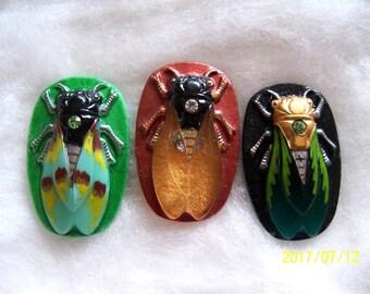 Czech  Glass Buttons   (3 PCS) Hand Painted SCARAB Cicada 40mm   IVA 001