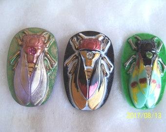 Czech  Glass Buttons   (3 PCS) Hand Painted SCARAB Cicada 40mm   IVA 003