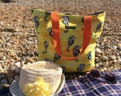 Vintage towelling beach bag -  yellow seahorses