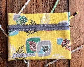 Vintage fabric fancy zip pencil case - yellow mid century