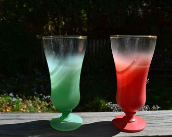 Christmas Decor. Green & Red Parfait Glasses.  Blendo. Set of 2. Ombre .  Holiday Tableware. Anchor Hocking. West Virginia Glass.  - VG169