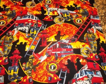 FIRE FIGHTERS   Multi Design  1  Remnant Piece  100% Cotton Fabric  by  Timeless Treasures