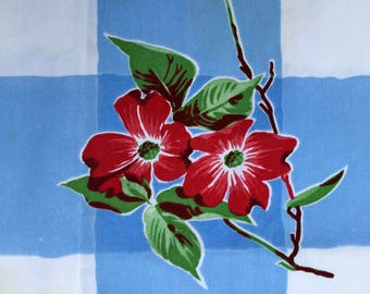 Vintage Tablecloth, Lovely Red Flowers on Big Blue and White Checks, Wilender-Like, Fair Condition