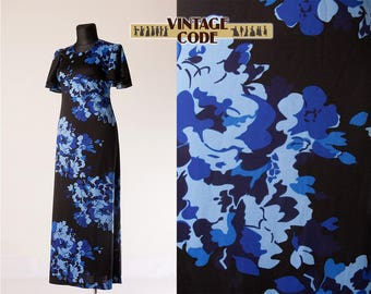 Black blue abstract floral print 70s maxi dress / Empire waist short Flare sleeve 70s Hostess dress /  size  Large